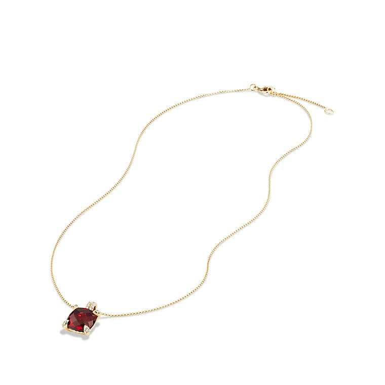 Châtelaine Pendant Necklace with Garnet and Diamonds in 18K Gold, 11mm
