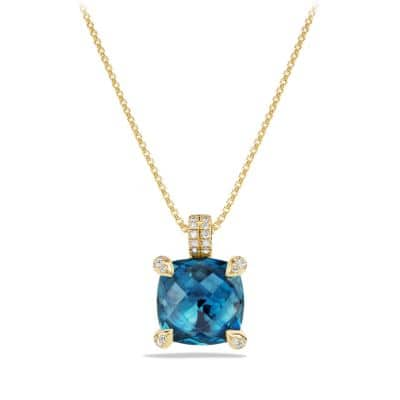 Châtelaine Pendant Necklace with Hampton Blue Topaz and Diamonds in 18K Gold, 11mm