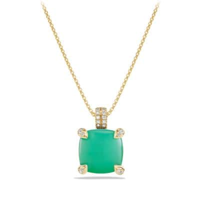 Châtelaine Pendant Necklace with Chrysoprase and Diamonds in 18K Gold, 11mm