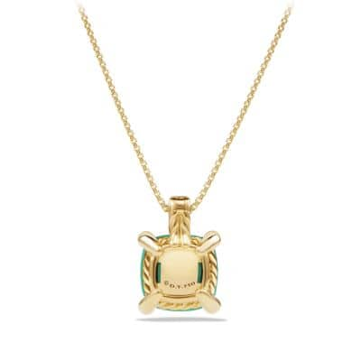 Chatelaine Pendant Necklace with Chrysoprase and Diamonds in 18K Gold, 11mm