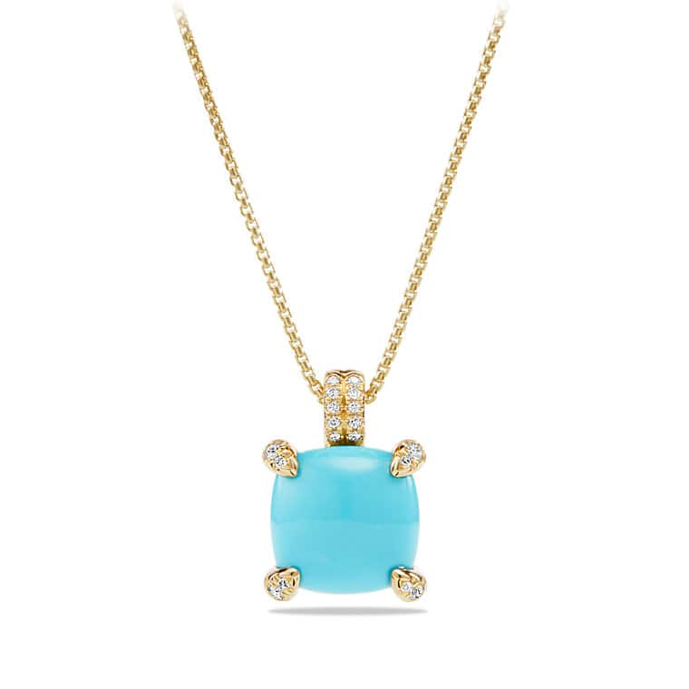 Chatelaine pendant necklace with diamonds in 18k gold 11mm chtelaine pendant necklace with turquoise and diamonds in 18k gold audiocablefo