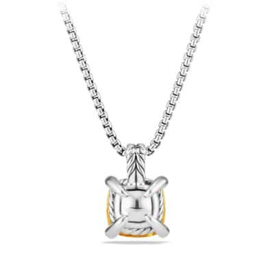 Châtelaine Pendant Necklace with Citrine and Diamonds, 11mm