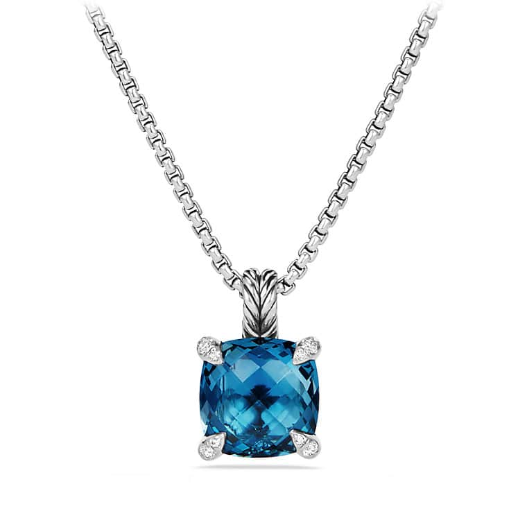 Châtelaine Pendant Necklace with Hampton Blue Topaz and Diamonds, 11mm