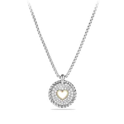Heart Charm Necklace with Diamonds with 18K Gold