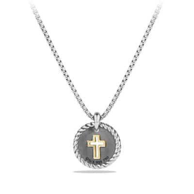 Cross Charm Necklace with Diamonds with 18K Gold