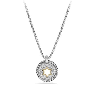 Star of David Charm Necklace  with Diamonds with 18K Gold