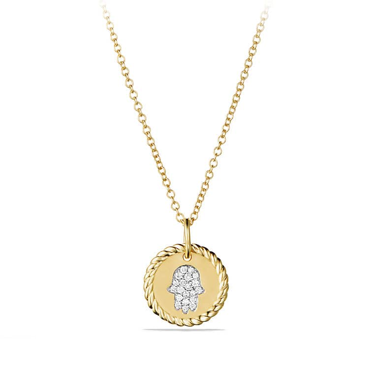 Petite Pave Hamsa Necklace with Diamonds in 18K Gold
