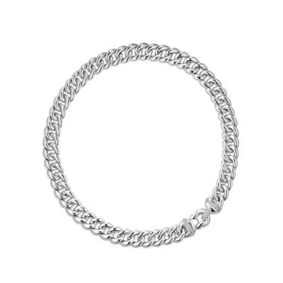 Cable Buckle Necklace with Diamonds, 14mm