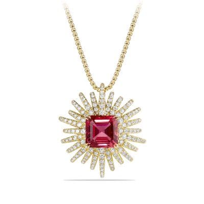 Starburst Pendant Necklace with Diamonds and Rubellite in 18K Gold, 30mm