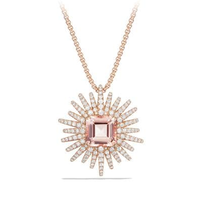 Starburst Pendant Necklace with Diamonds and Morganite in 18K Rose Gold, 30mm thumbnail