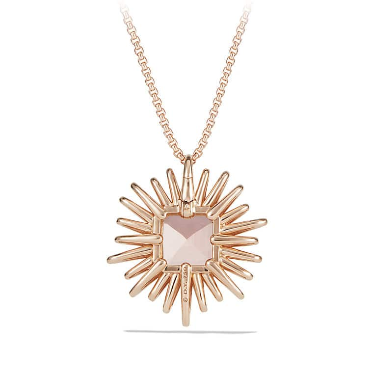 Starburst Pendant Necklace with Diamonds and Morganite in 18K Rose Gold, 30mm