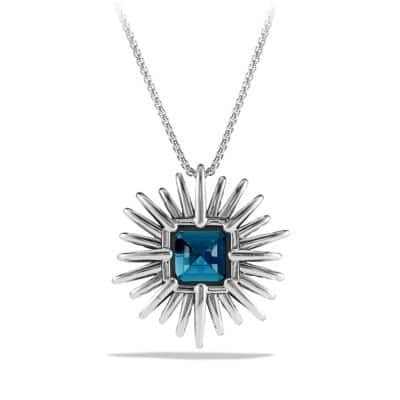 Starburst Necklace with Diamonds and Hampton Blue Topaz in Silver, 38mm