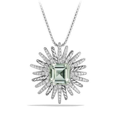 Starburst Necklace with Diamonds and Prasiolite in Silver, 38mm