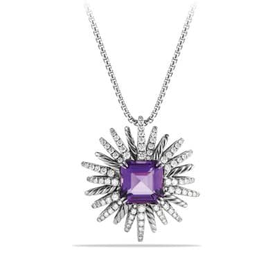 Starburst Necklace with Diamonds and Amethyst in Silver, 30mm