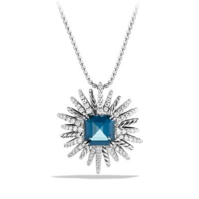 Starburst Pendant Necklace with Hampton Blue Topaz and Diamonds, 30mm