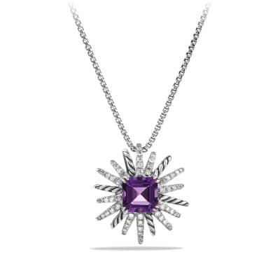 Starburst Necklace with Diamonds and Amethyst in Silver, 23mm