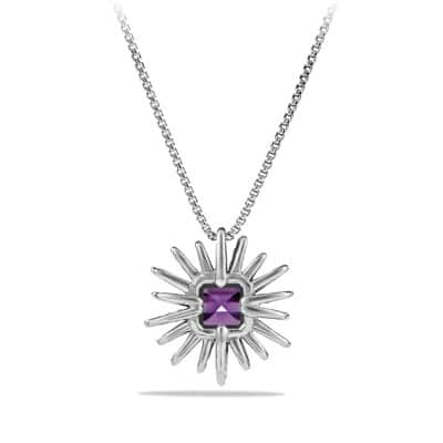 Starburst Pendant Necklace with Amethyst and Diamonds, 23mm