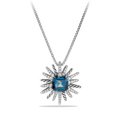 Starburst Necklace with Diamonds and Hampton Blue Topaz in Silver, 23mm