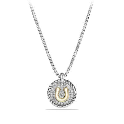 Horseshoe Charm Necklace with Diamonds and 18K Gold