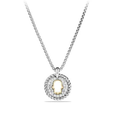 Petite Pave Hamsa Charm Necklace with Diamonds and 18K Gold