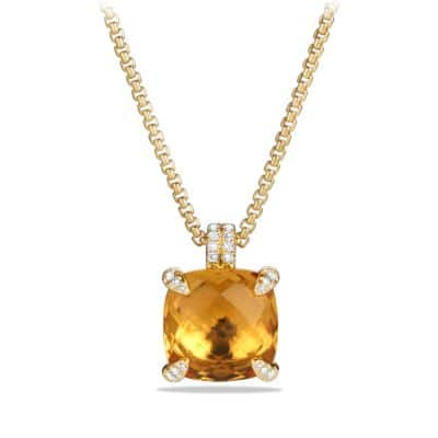 Châtelaine Pendant Necklace with Citrine and Diamonds in 18K Gold, 14mm