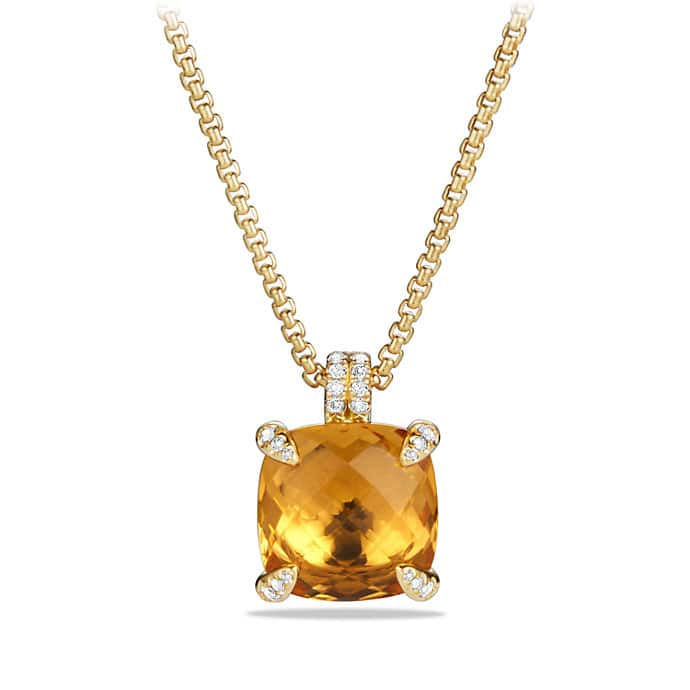 Châtelaine® Pendant Necklace with Citrine and Diamonds in 18K Gold, 14mm