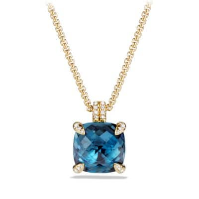 Chatelaine Pendant Necklace with Hampton Blue Topaz and Diamonds in 18K Gold, 14mm