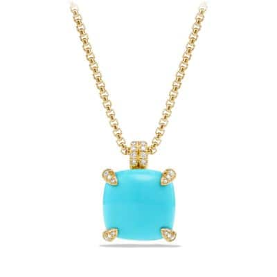 Chatelaine Pendant Necklace with Turquoise and Diamonds in 18K Gold, 14mm