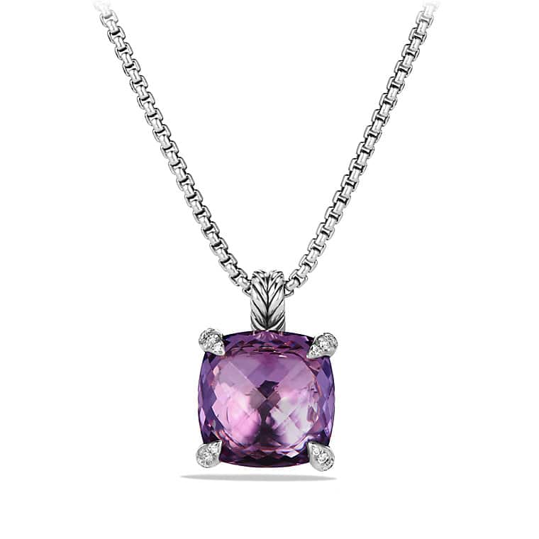 Châtelaine® Pendant Necklace with Amethyst and Diamonds, 14mm