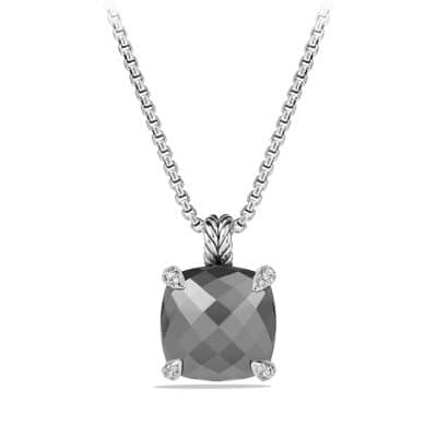 Châtelaine® Pendant Necklace with Hematine and Diamonds, 14mm