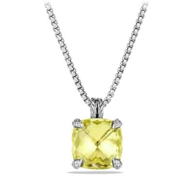 Pendant Necklace with Lemon Citrine and Diamonds