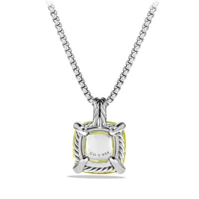 Châtelaine Pendant Necklace with Lemon Citrine and Diamonds, 14mm