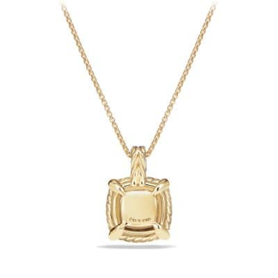 Châtelaine Pave Bezel Pendant Necklace with Champagne Citrine and Diamonds in 18K Gold, 9mm