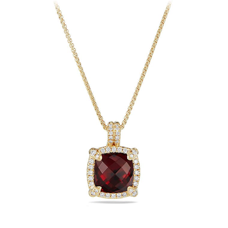 Châtelaine Pave Bezel Pendant Necklace with Garnet and Diamonds in 18K Gold, 9mm