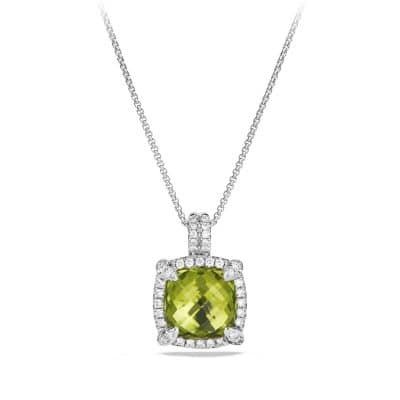 Chatelaine Pave Bezel Pendant Necklace with Peridot and Diamonds in 18K White Gold