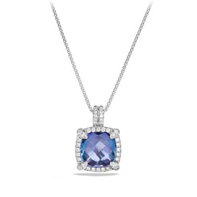 Châtelaine Pave Bezel Pendant Necklace with Tanzanite and Diamonds in 18K White Gold