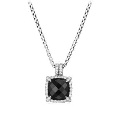 Châtelaine Pave Bezel Pendant Necklace with Black Onyx and Diamonds, 9mm