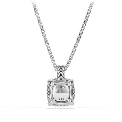 Châtelaine Pave Bezel Pendant Necklace with Hampton Blue Topaz and Diamonds, 9mm