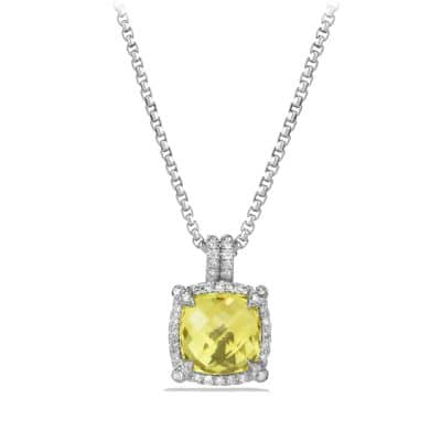 Chatelaine Pave Bezel Pendant Necklace with Lemon Citrine and Diamonds, 9mm
