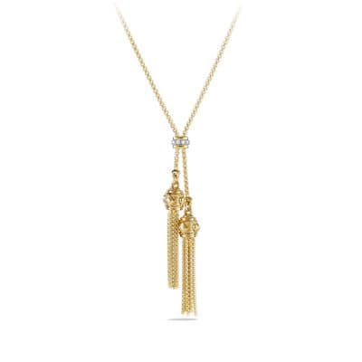Renaissance Petite Tassel Necklace with Diamonds in 18K Gold