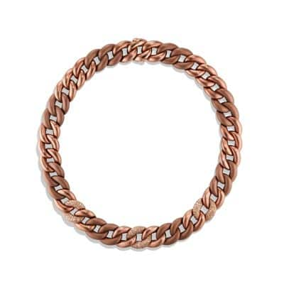 Belmont® Curb Link Necklace with Cognac Diamonds in Titanium with an Accent of 18K Rose Gold