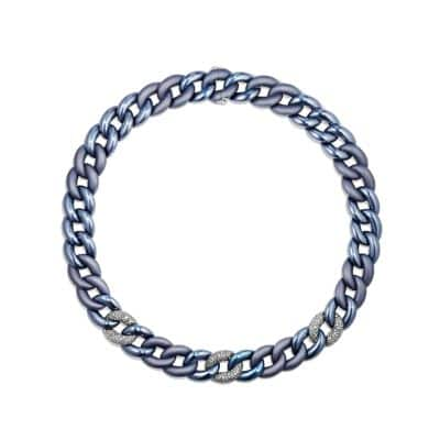 Belmont Curb Link Necklace with Gray Diamonds in Titanium with an Accent of 18K White Gold