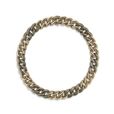 Belmont Curb Link Necklace in Titanium with an Accent of 18K Gold