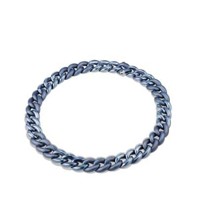 Belmont Curb Link Necklace in Titanium with an Accent of 18K White Gold