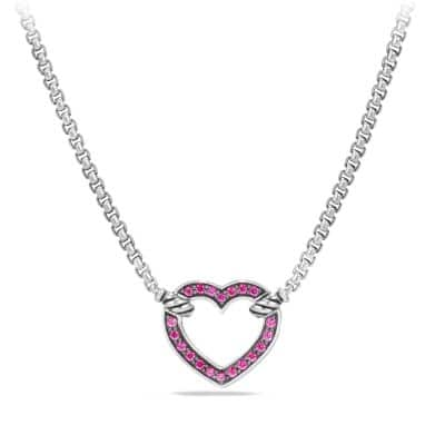 Heart Station Necklace with Pink Sapphire