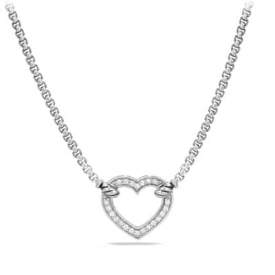 Cable Collectibles Heart Station Necklace with Diamonds