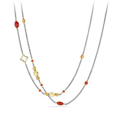 Bead Necklace with Carnelian, Amber, Citrine and 18K Gold