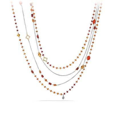 Bead Necklace with Carnelian, Garnet and 18K Gold