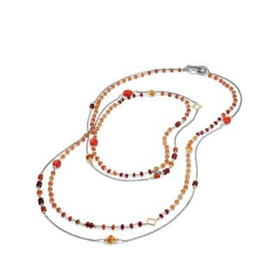 Bijoux Bead Necklace with Carnelian, Garnet and 18K Gold