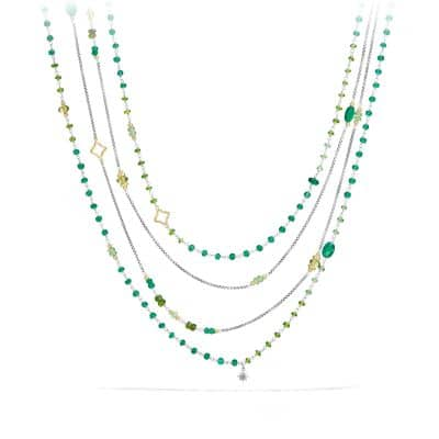 Bead Necklace with Green Onyx, Green/Chrome Diopside, Tsavorite and 18K Gold